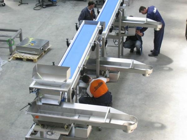 Transportbanden systeem voor weeginstallaties